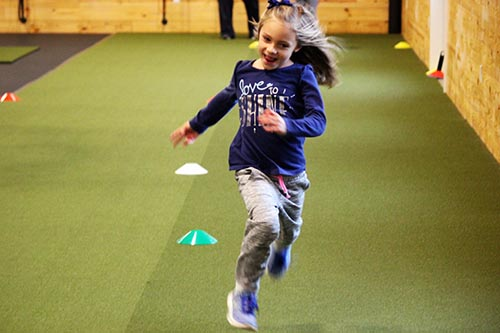 Alana sprinting forward
